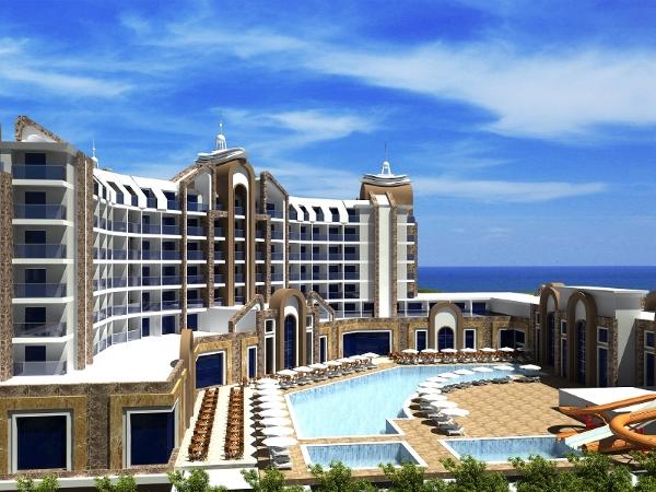 Alanya, Hotel The Lumos Deluxe Resort, piscina exterioara, sezlonguri, mare.jpg